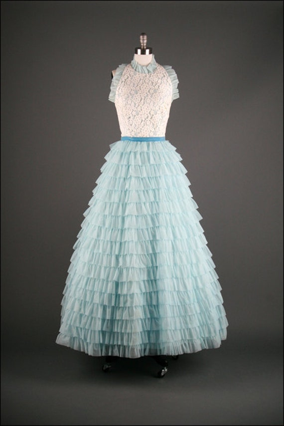 Blue Ruffle and Lace Chiffon Dress, Small, Vintage 1960's