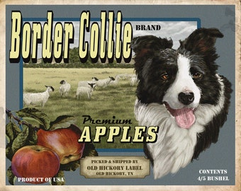 Border Collie Small Wooden Crate
