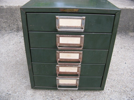 industrial file cabinet desktop 5 drawers 11 3/4 in. high 10 1/4 in. wide jewelry cards pattern supply  organizer