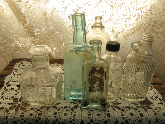 antique apothecary medicine bottle collection set of 6 glass altered art photo prop display