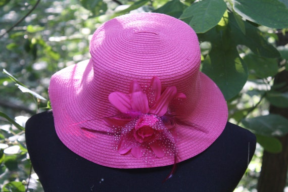 Hot Pink Hat with Flower