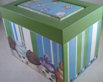Cupcakes Glittery Green Upcycled Recipe Box