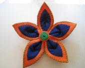Orange and Blue Felt Flower Hair Clip