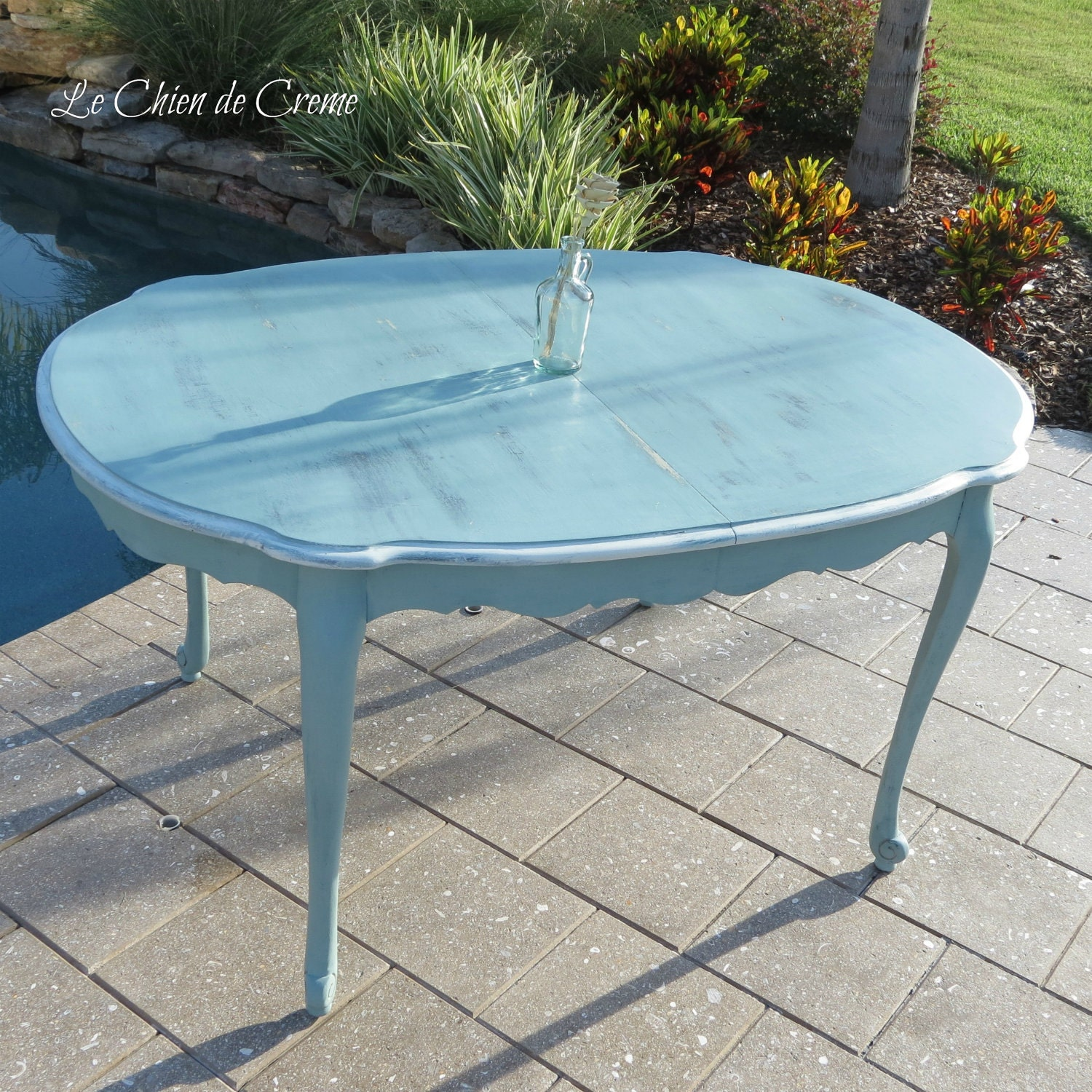 Beachy Blue Cottage Chic Dining Table