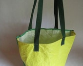 Recycled Color Block Sailcloth Tote made from a green and yellow spinnaker sail - Medium Size