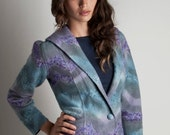 Blazer wool felted chevron dyed and embroidered merino wool, SALE 30% OFF // Ready to ship //