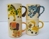 Vintage plastic children's cup set