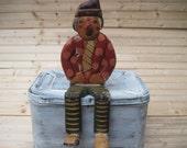 Folk art clown, wall hanging.shelf sitter