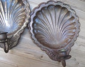 Pair of wall sconces,vintage shell wall sconces