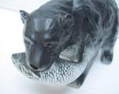 Bear,black bear, bear with salmon, alaska, bear figurine, vintage ceramic bear,woodland creature