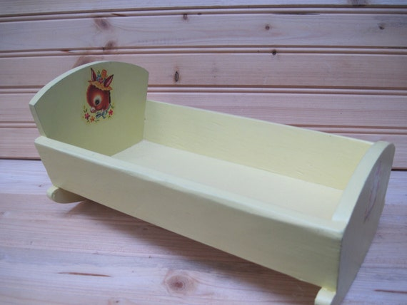 "Vintage doll cradle, 8"" doll, yellow doll bed"
