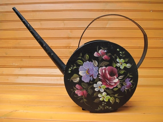 Reserved for K-Watering can ,tole ware nashco hand painted black garden houseplants shabby cottage watering