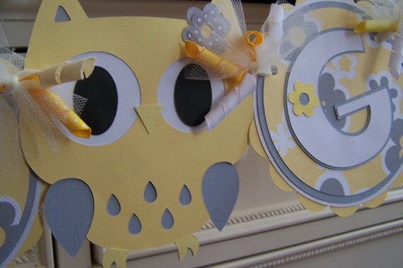 Owl banner:  Its a Girl Yellow and grey