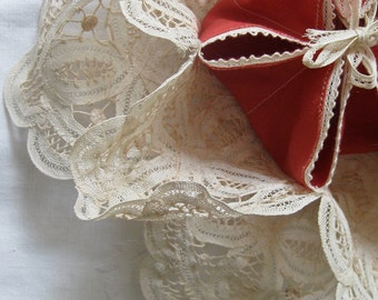 Vintage Roll Doily .... Bun Warmer....Cupcake Pouch  of Battenburg lace - for the Perfect Tea Party