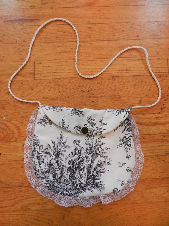 Black Toile Purse with White Lace Trim
