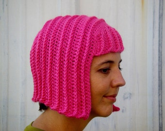 The Mod Bob wig in Hot Pink. Hand crocheted. Other colors available.