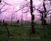 Gothic meadow, surreal, black cat pink and green photography print