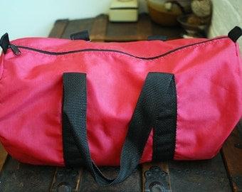 SALE Vintage Red Nylon Athletic Travel Bag