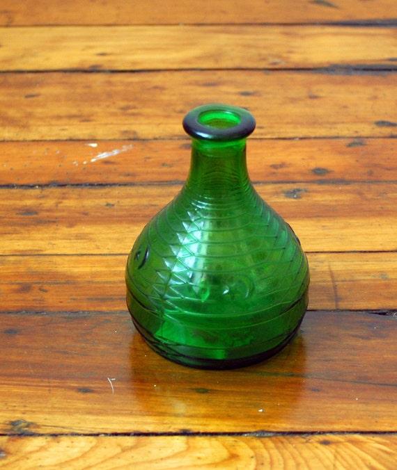 Vintage Green Depression Glass Vase