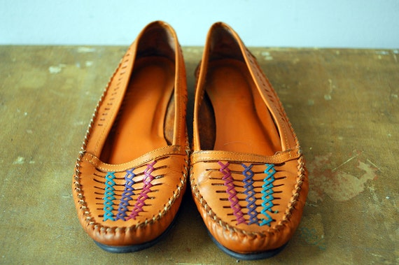 Vintage Orange Woven Leather Moccasins