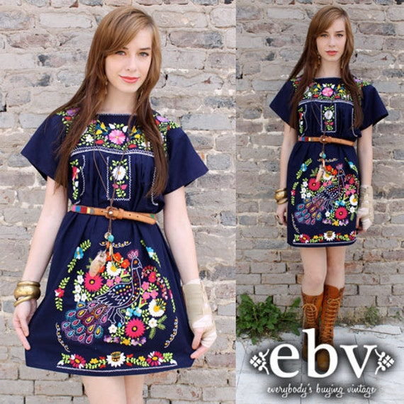 Vintage 70's Embroidered Mexican Boho Hippie Tunic Mini Dress