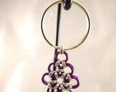 Japanese Tear Drop Chainmaille Keychain Purple