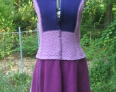 Wool sweater dress, tunic with full circle skirt ,asymetrical hemline, upcycle, felted , purple, size M- L medium- large