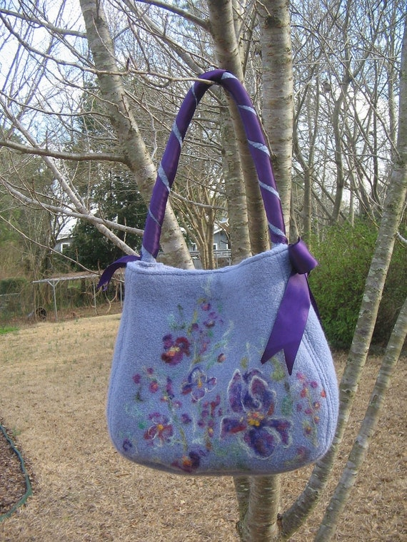 felted tote purse needlefelted design upcycle purple spring fashion