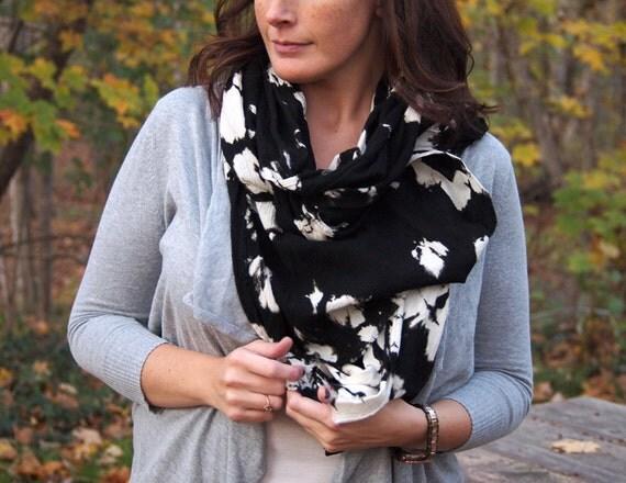 BLACK and WHITE cotton gauze scarf