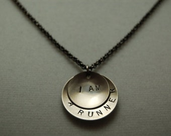 I AM a RUNNER Necklace - Running Jewelry - Running Necklace on Gunmetal Chain - Great Running Gift - New Runner - Beginner Runner - Run Gift