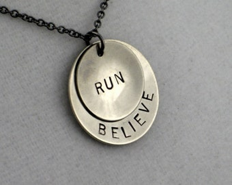 Running Jewelry - BELIEVE in YOUR RUN Necklace - Runner Necklace on Gumetal Chain - Runners Necklace - Marathon Training - New Runner - Run