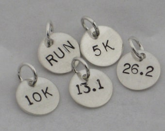 ONE (1) Sterling Silver RUN, 5k, 10k, 13.1, 26.2 or XC Hand Stamped Runner Charm - One Charm Only - Running Charm - Marathon - Half Marathon