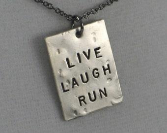 LIVE LAUGH RUN Running Necklace  - Running Jewelry - Motivational Jewelry - Runner Charm with Gunmetal chain - Running Valentine - Run Life