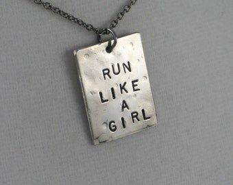 RUN Like a GIRL Running Necklace  - Choose to Add a Charm - Runner Girl, Running Shoe, Distance - Running Girl Necklace on Gunmetal chain -