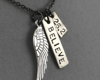 FLY 26.2 - I BELIEVE Necklace - Marathon Necklace on Gunmetal chain - Running Jewelry - Running Necklace - Fly Your Marathon - 26.2 26point2