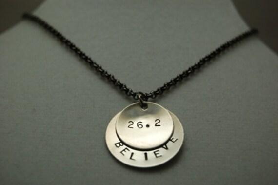 BELIEVE in the MARATHON Necklace - Marathon Jewelry - 26.2 Jewelry - Marathon Runner Necklace on Gunmetal chain - Marathon Training - Coach