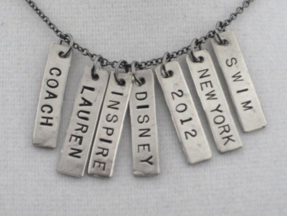 ONE (1) CUSTOM Name, Race, Year, City or Word Nickel Silver Hammered Pendant - Choose Name, Race, Year, City or Word - Add a CUSTOM Pendant