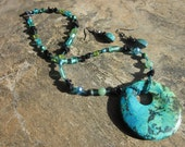 Oceanview - Aqua Blue and Green Beaded Necklace and Earrings Set