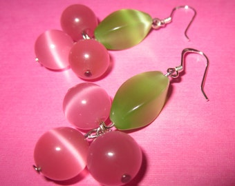 Juicy Berry - Green and Pink Beaded Dangle Drop Earrings with Sterling Silver Earwires