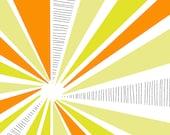 Yellow and Orange Sunburst Art Print - 11 x 14