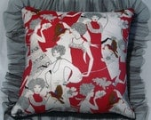 Quilted cushion cover - 'Armando Caruso' Fabric. Red, white and black with tulle Fringing.