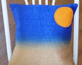 """Upcyled silk cushion cover... Once a shirt, skirt and a curtian. Now... """"The sun sky & sand"""" cushion  Free postage within Australia"""
