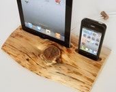 iPhone / iPod / iPad wooden DUAL docking station - sync, charge, can serve as holder / stand - home decor