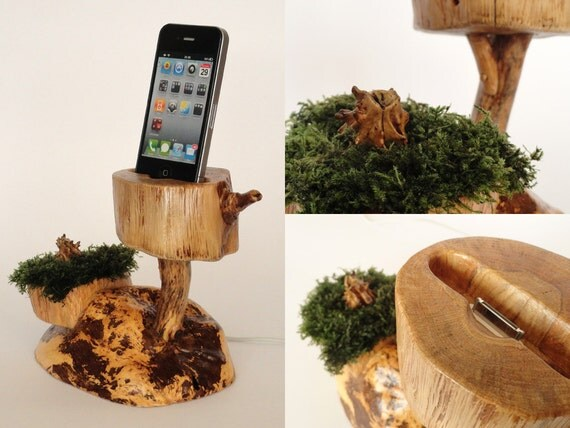 Live evergreen dock for iPhone, iPod - sync, charge, can serve as stand - handmade from oak and moss