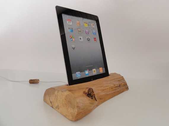 iPad one / iPad 2 wooden rustic docking station - sync, charge, can serve as holder / stand... unique gift