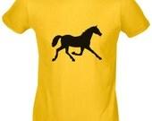 Black Horse Tshirt Yellow Cotton Tee CHILDREN Shirt - organic cotton - sizes XS S M XL - Perfect for a Cowboy Birthday Party