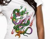 Green Dragon Women's Tshirt - Organic cotton white sizes S M L XL - Makes a great present
