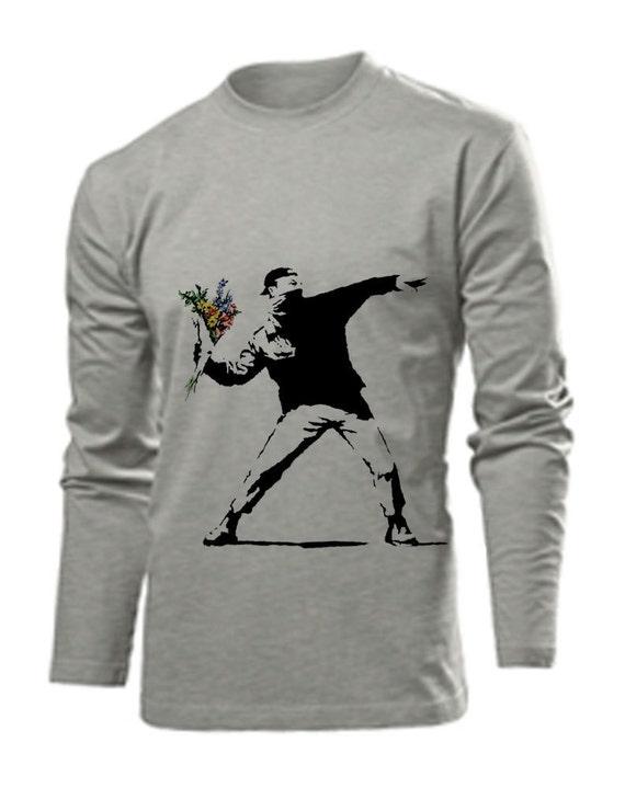 Bansky graffiti masked man  long sleeve shirt for men - grey heather cotton sizes S M L XL XXL - makes a great present