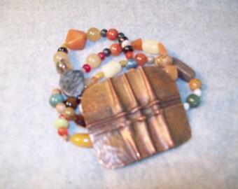 Gemstone Cuff, Fold Formed Cuff, Fold Formed Bracelet, Multi Strand Bead Bracelet