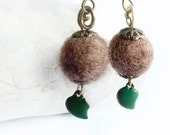Brown and green felted dangled earrings